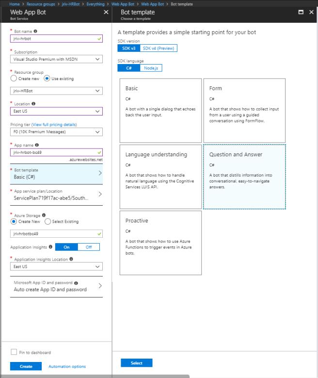Create - Bot Service